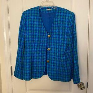 Ann May Vintage 100% Woven Silk Plaid Blazer